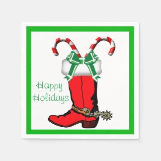 Western Christmas CowboyBoot Happy Holidays Napkin
