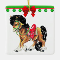 Western Christmas Little Horse Pony With Saddle Ceramic Ornament