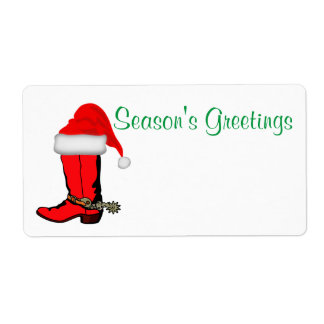 Western Christmas Party Name Tag Template Label