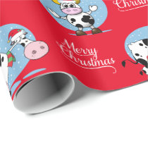 Western Christmas Santa Cows Wrapping Paper