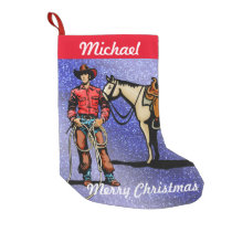 Western Christmas Stocking Cowboy With Horse