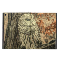 western country autumn leaves oak tree white owl cover for iPad air