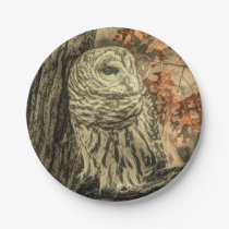 western country autumn leaves oak tree white owl paper plate