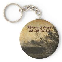 western country autumn trees rustic farm wedding keychain