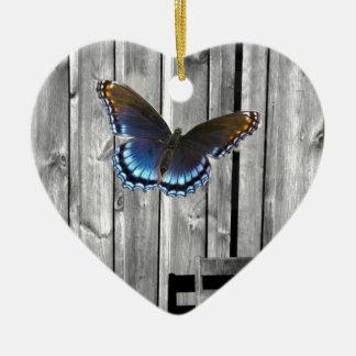western country barnwood woodgrain blue butterfly ceramic ornament