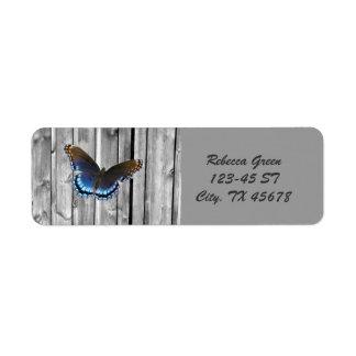 western country barnwood woodgrain blue butterfly custom return address labels