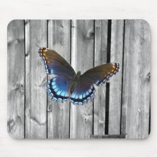 western country barnwood woodgrain blue butterfly mouse pad
