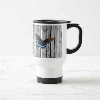 western country barnwood woodgrain blue butterfly travel mug