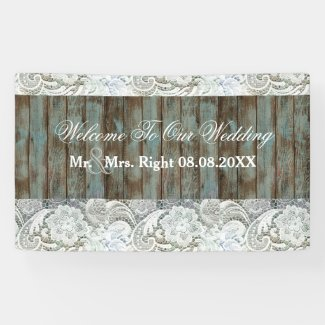 western country blue barn wood lace wedding banner