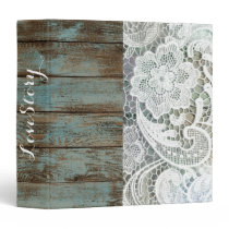 western country blue barn wood lace wedding binder