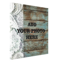 western country blue barn wood lace wedding canvas print