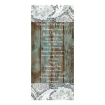 western country blue barn wood lace wedding rack card