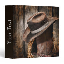 western country brown barn wood cowboy boots 3 ring binder
