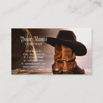 western country brown barn wood cowboy boots business card