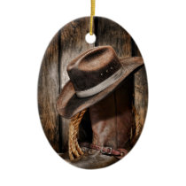 western country brown barn wood cowboy boots ceramic ornament