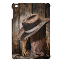 western country brown barn wood cowboy boots iPad mini cover