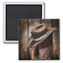 western country brown barn wood cowboy boots magnet