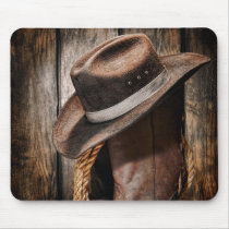 western country brown barn wood cowboy boots mouse pad