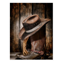 western country brown barn wood cowboy boots postcard