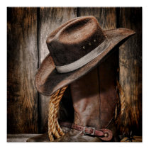 western country brown barn wood cowboy boots poster