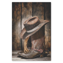 western country brown barn wood cowboy boots tissue paper