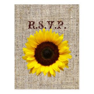 Western Country Burlap Sunflower Wedding RSVP Postcard