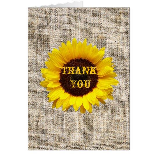 Western Country Burlap Sunflower Wedding thank you Card