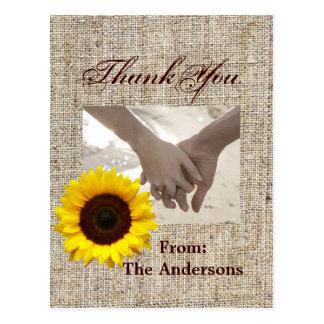 Western Country Burlap Sunflower Wedding thank you Postcard