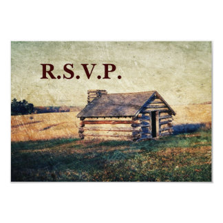 western country cabin wedding RSVP response Card