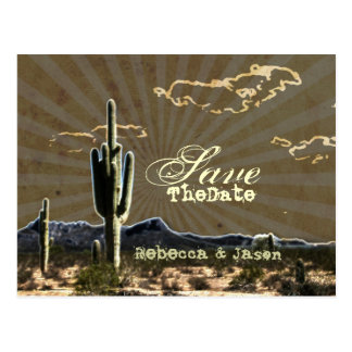 western country cactus wedding save the date postcard