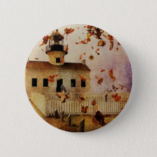 Western Country Church Chapel Fall Autumn leaves Pinback Button
