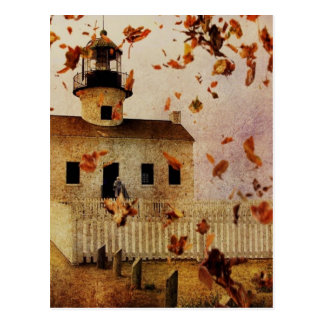 Western Country Church Chapel Fall Autumn leaves Postcard