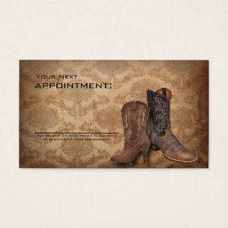 western country cowboy boots appointment business card
