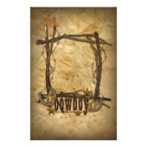 western country cowboy twigs frame stationery