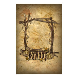 western country cowboy twigs frame stationery