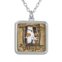 western country cowboy wedding photo necklace