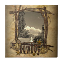 western country cowboy wedding photo tile gift