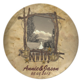 western country cowboy wedding photoPlate Melamine Plate