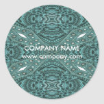 western country cowgirl fashion teal leather classic round sticker
