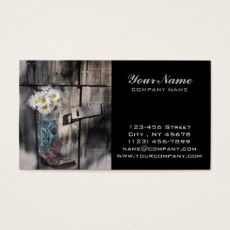 Western country daisy barn wood cowboy boot business card