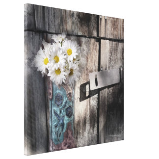 Western country daisy barn wood cowboy boot canvas print