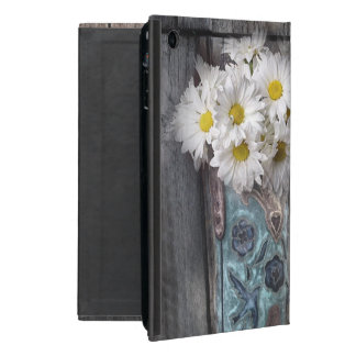Western country daisy barn wood cowboy boot case for iPad mini