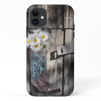 Western country daisy barn wood cowboy boot iPhone 11 case
