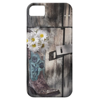 Western country daisy barn wood cowboy boot iPhone SE/5/5s case