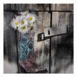 Western country daisy barn wood cowboy boot poster