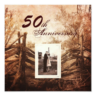 western country farm 50th wedding anniversary card