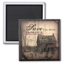 western country farm barn wedding save the date magnet