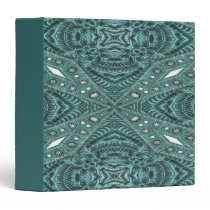 Western Country fashion Teal Turquoise Leather 3 Ring Binder