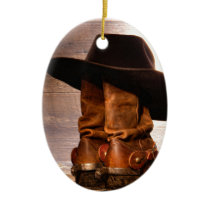 western country hat barn wood cowboy boots ceramic ornament