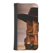 western country hat barn wood cowboy boots iPhone SE/5/5s wallet case